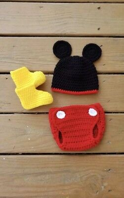 Crochet Mickey Mouse Costume Prop Photography 3-6 Month Halloween