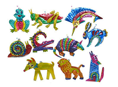 Mexican Tin Ornaments - ANIMAL FIGURES, 10 Different In Box, Handmade in Oaxaca