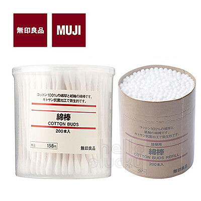 [MUJI MoMA] COTTON SWAB White Ear Buds 200pcs (New or Refill) Made in JAPAN NEW