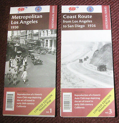 2 Maps 1930 & 1926 Reproduction Los Angeles, San Diego AAA Historical Series NEW