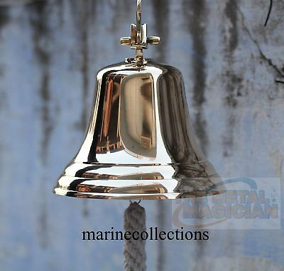 Nautical Vintage Brass Ships Bell Boat Solid Wall Mount Marine Decor