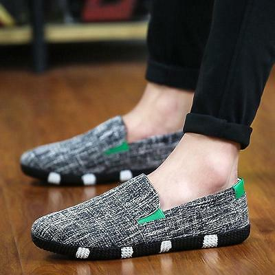 2 Style Mens Hemp Breathable Slip On Loafers Casual Shoes Driving Moccasins New