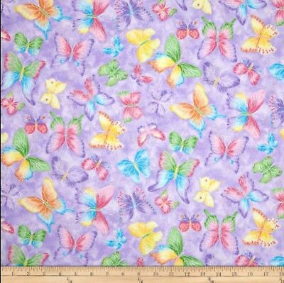 Butterflies Glitter Purple Half Yard 45cm x 110cm Cotton 100%