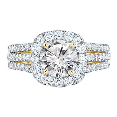4.32 Ct Round Cut Solitaire 14K Yellow Gold Over Halo Engagement Ring Size 6