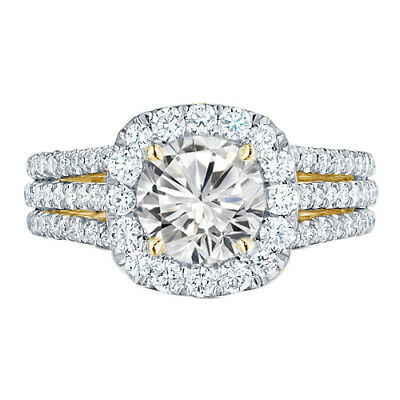 4.32 Ct Round Cut Solitaire 14K Yellow Gold Over Halo Engagement Ring Size 7