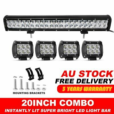 "20inch LED Light Bar Spot Flood Combo + CREE 4x 4"" Pods Ford SUV 4WD Jeep UTE 24"
