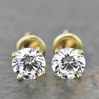 4.54 CT Round Cut Solitaire Women's Stud Earrings 14K Yellow Gold Over