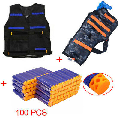 Kid Gift 100x Hollow Bullet Darts+Vest Jacket+Gun Holder Backpack Bag for NERF