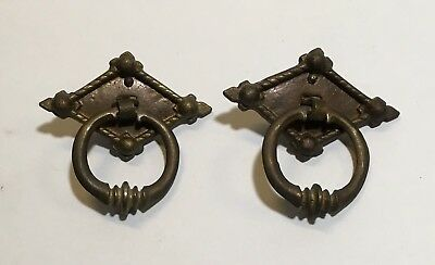 Vintage/Antique Set of 2 Cast BRASS BRONZE DRAWER Pull Ring Knob Handle Pair