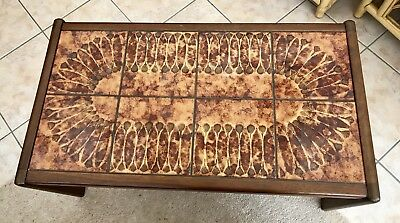 Retro Vintage wooden  tile top coffee occasional table