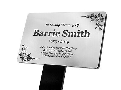 Personalised Silver Memorial Plaque Stake Grave Ornament