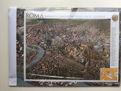 Large ROME ROMA ITALY Birdseye View MAP In Italian Significant Buildings New!