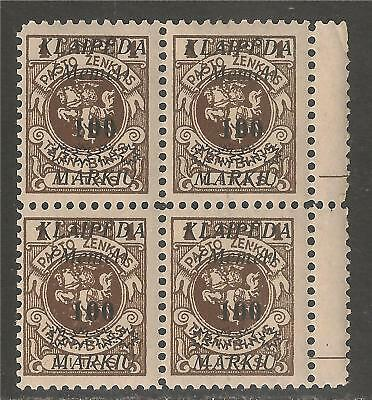 Memel / Lithuania #N16 VF MNH BLOCK - 1923 Occupation Stamp