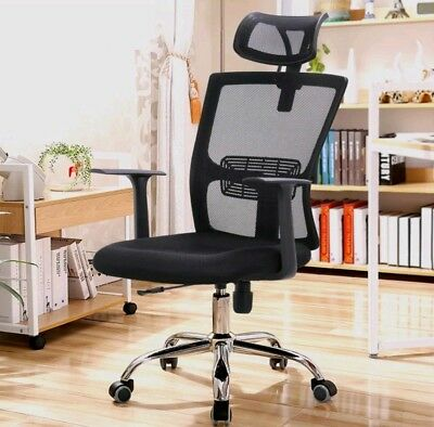Office Mesh Chair Computer Desk Fabric Adjustable Swivel Tilt Chrome Steel Base