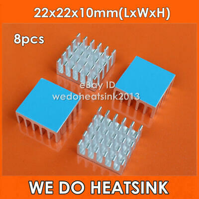 8pcs 22x22x10mm Heat Sink With Thermal Tape For Cooling CPU IC VGA RAM