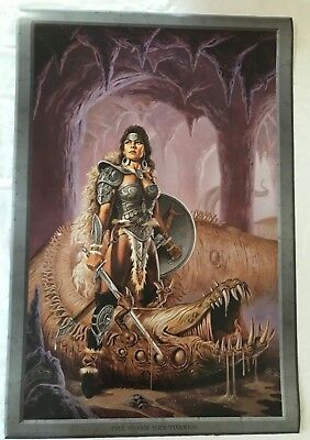 RaRe vintage The Worm Has Turned poster 24x36 Clyde Caldwell fantasy art warrior