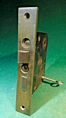 CORBIN #1250 1/4 HARDWARE ENTRY MORTISE LOCK:  RECONDITIONED w/KEY - (10259)