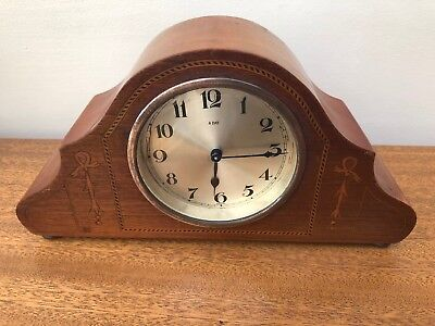 antique mantle clock Wind Up Solid Hardwood Case Inlaid 8 Day Germany