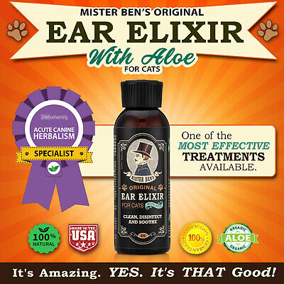 Cat Ear Cleaner by Mister Bens - Original Ear Elixir with Aloe for Cats
