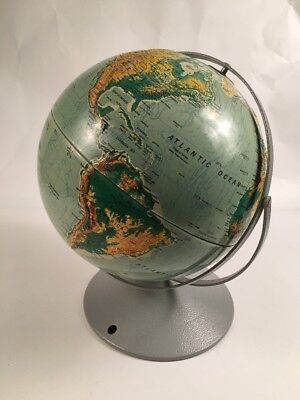 """NYSTROM Sculptural Raised Relief Double Axis 12"""" Globe on Metal Base"""