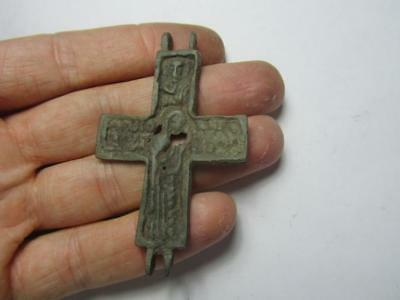 Medieval encolpion.Blessed virgin  Metal detector finds  100% original
