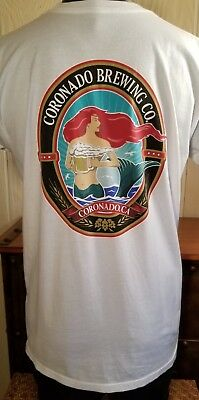 CORONADO BREWING Coronado Ca. Craft Beer White Mermaid T-Shirt Sz M/L