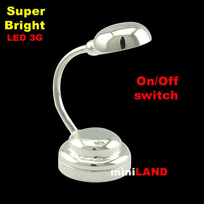 Silver Table desk Super bright battery LED LAMP Dollhouse miniature light on/off