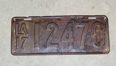 1917 Rare Louisiana License Plate