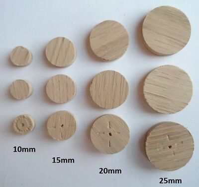 Oak SOLID WOOD Flat Head Plug for 10 15 20 or 25mm Hole Wooden Button Caps Cover