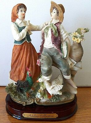 Fine Collectible Adeline Collection Piece Of A Man & Woman With Birds & Flowers