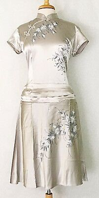 Modified Asian Chinese Cheongsam Qipao Fashion Dress Silver w HandPainted Flower
