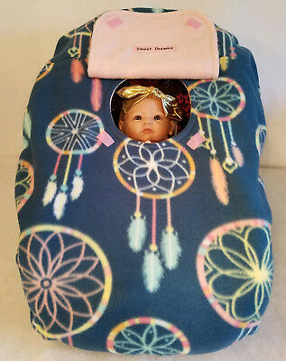 Infant Car Seat Cover Up Dream Catcher Teal n Baby Pink Fleece Custom Embroidery