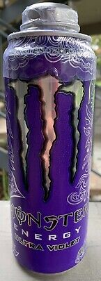 New Monster Energy Ultra Violet Drink 24 Fl Oz Full Can Zero Sugar & Calories