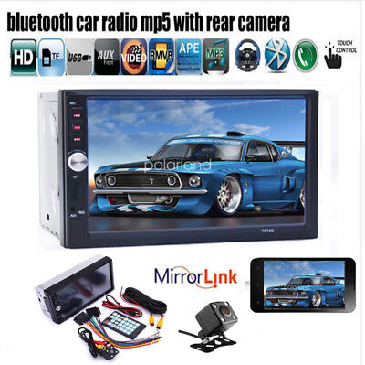 "7"" Double 2 Din Car Radio In-Dash Touch Screen Bluetooth Stereo MP5+Camera AUX"