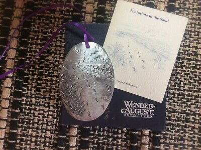 Wendell August Forge Oval Ornament Footprints With Box And Tie On