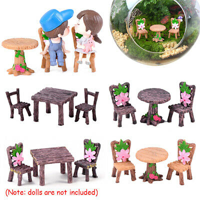 Miniature Table and Chairs  Fairy Garden Landscape Dollhouse Accessories