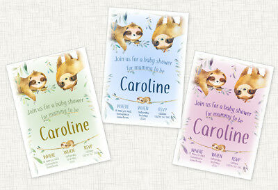10 X Personalised Sloth Baby Shower Invitations Boy / Girl / Unisex Thanks Cards