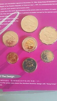Hong Kong 1997 =  7 coin set HK/ British Royal Mint includes £1 £2 £5 & £10 coin