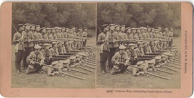 Soldats Chinois Chine Photo Stereo Vintage Albumine 1901
