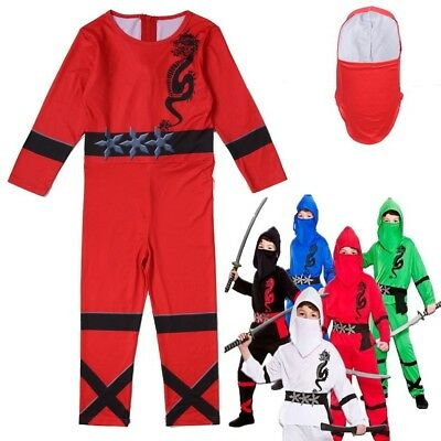 Boys Kids Power Ninja Japanese Samurai Warrior Fancy Costume Outfit jumpsuits