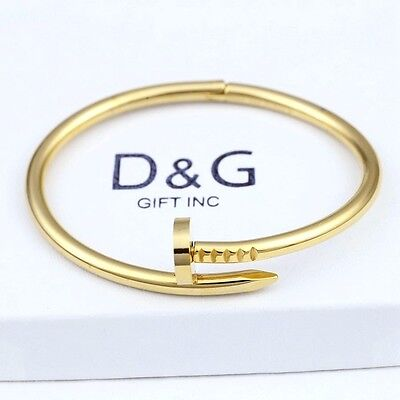 "DG Men's 7"" Stainless Steel,Gold Round Nail Bangle Bracelet *Unisex*Box"
