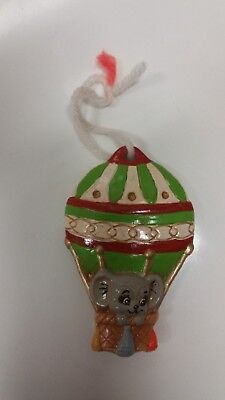 Christmas Mouse Balloon Tree Ornament Ceramic 3 Inch-Vintage Holiday Decor
