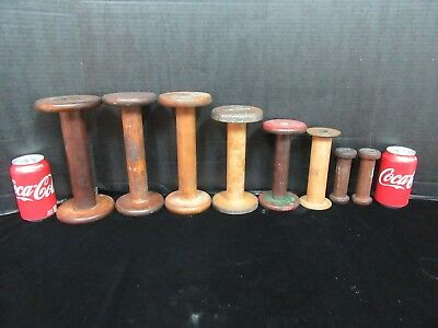 Lot Of 8 Vintage Heavy Industrial Textile Wood Mill Reel Bobbin Spindle Spools