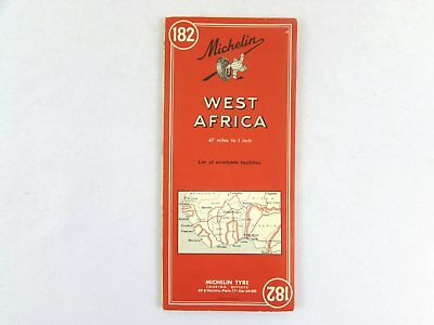 Vintage Michelin West Africa Road Map #182 c1960's Bilingual