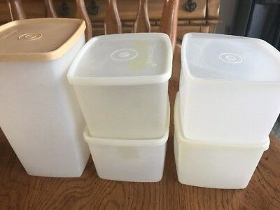 5 Vtg Tupperware Square Round Freezer Containers Food Storage Sheer #312 313 Lid