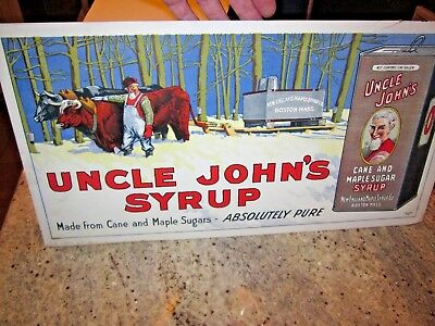 """antique Uncle Johns Syrup sign """"The Donaldson Litho CO"""" Newport RI 21"""" X 11"""