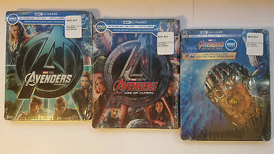 Avengers 1+2+3 EMPTY STEELBOOKS No Blu-ray, 4K Discs or digital! CASES ONLY!