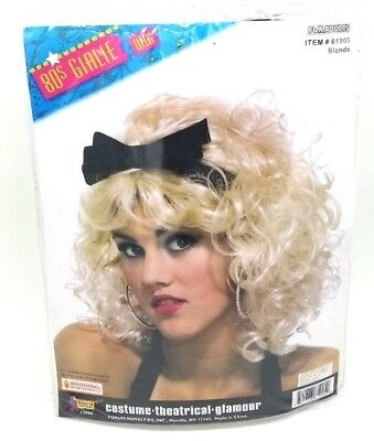 Blonde 80'S Girlie Wig With Bow