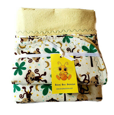 Flannel Baby Blanket With 3 Burp Cloths Gift Set Monkey Double Layered Handmade