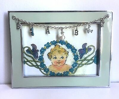 DSG Blue 4x6 Glass Baby Picture Frame Hanging Charms